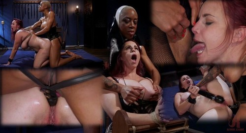 Lesbian Latex Blasphemy Ashley Paige Whips The Sin Out Of Bella Rossi [SD]
