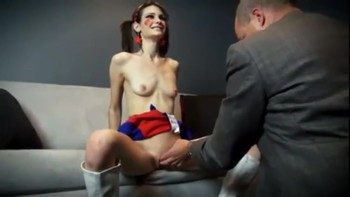 Young cheerleader is controlled by an old man