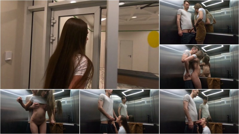 Redkittycat - Risky Sex in the Public Elevator. Rough Sex, Blowjob and Facial - Watch XXX Online [FullHD 1080P]