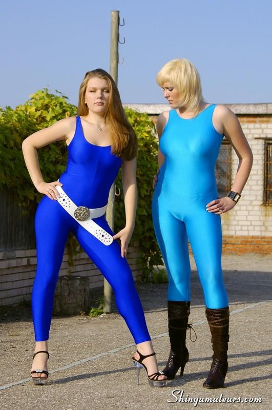 russian lesbian girls in skin tight blue spandex