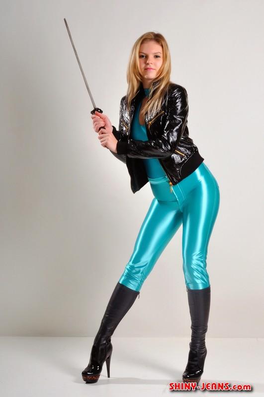 warrior girl Katya A with sword & shiny jeans