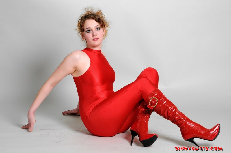 slavic model Lena S in sexy red unitards & boots