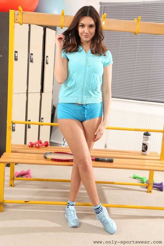 fitness instructor Abigail B in kinky shorts
