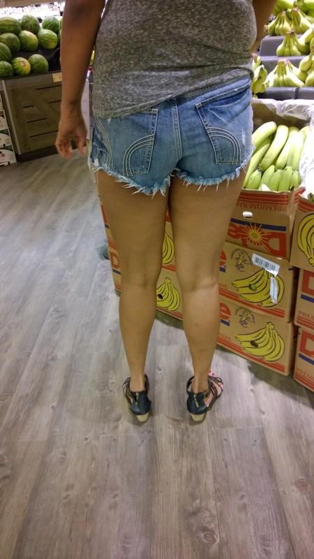 leggy pawg in cut-off denim shorts