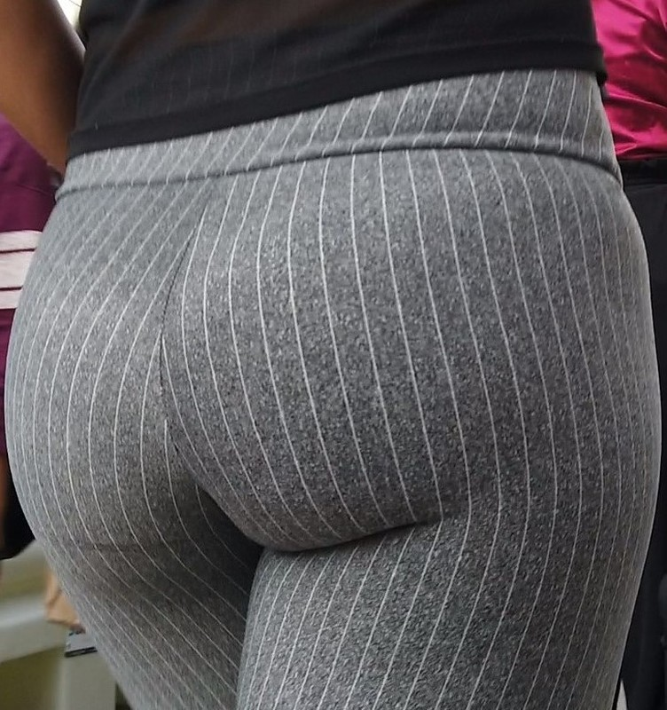adorable milf ass in striped capri leggings