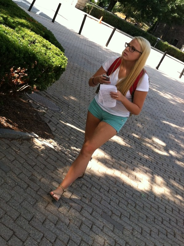 blonde college babe in green shorts