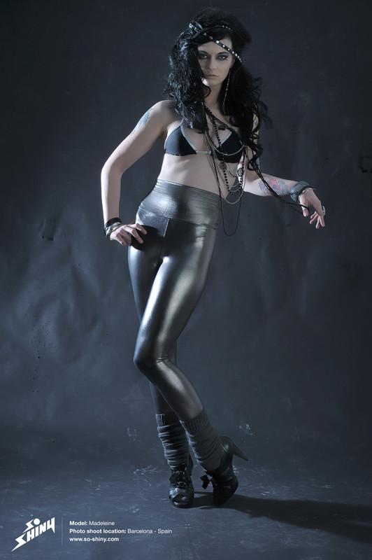 stylish lady Madeleine in shiny leggings