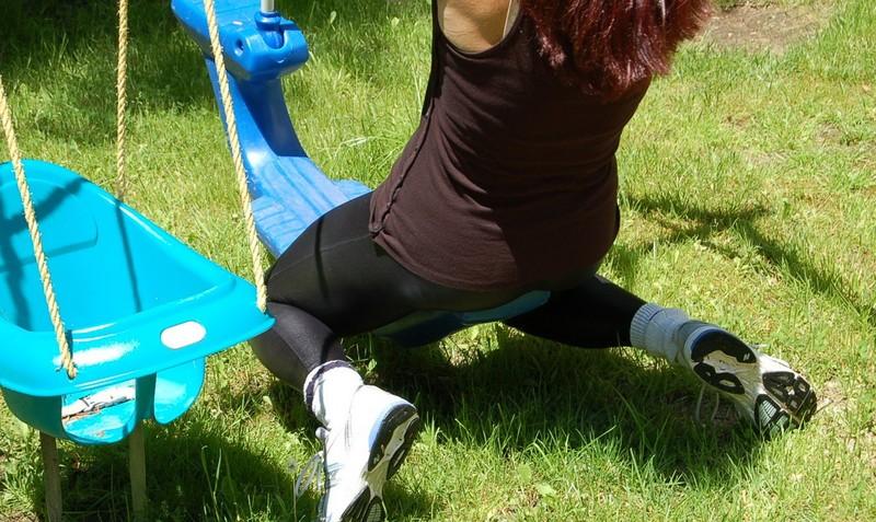 gymnast milf in black leather leggings