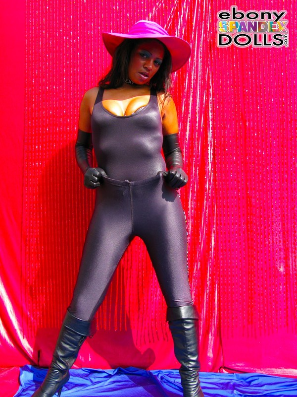 ebony chick Phoenix in sexy lycra outfit & boots