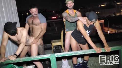 EricVideos - It Gets Hot At Night On The Rooftop: Alex Montenegro, Drew Dixon, Romeo Davis, Teddy Bareback