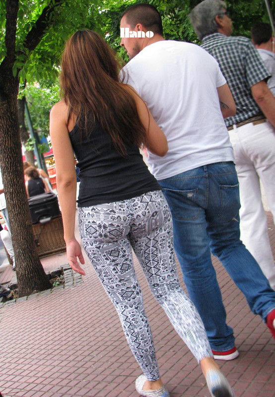 curvy woman in tight lycra pants