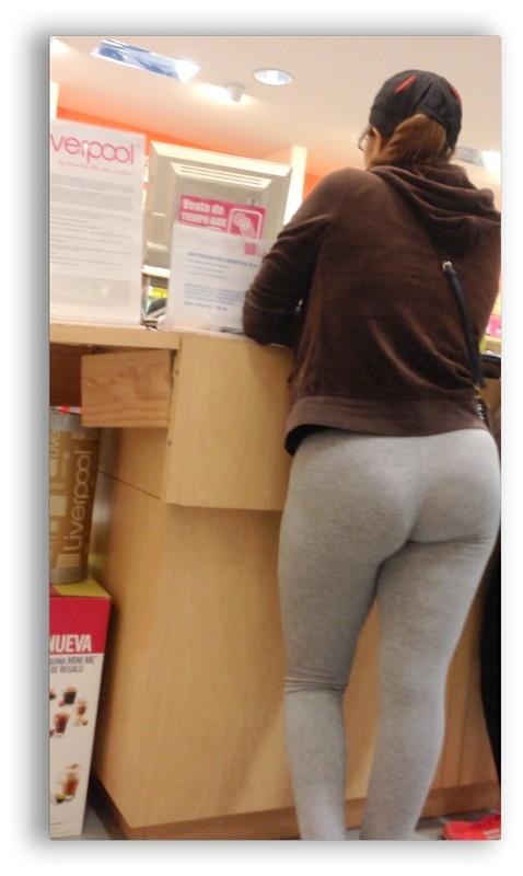 charming lady in grey leggings