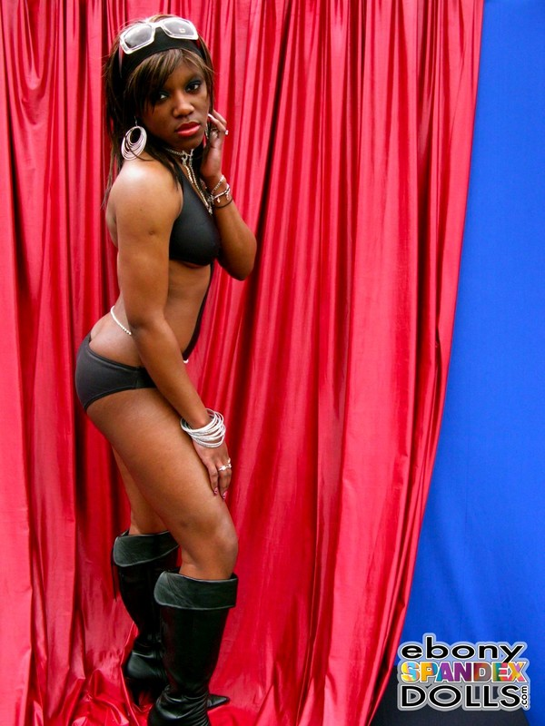 ebony chick Sabrina in 1 piece swimsuit & leather boots