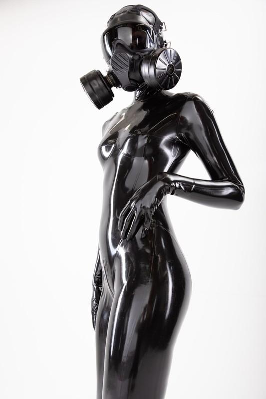 pretty girl in latex catsuit