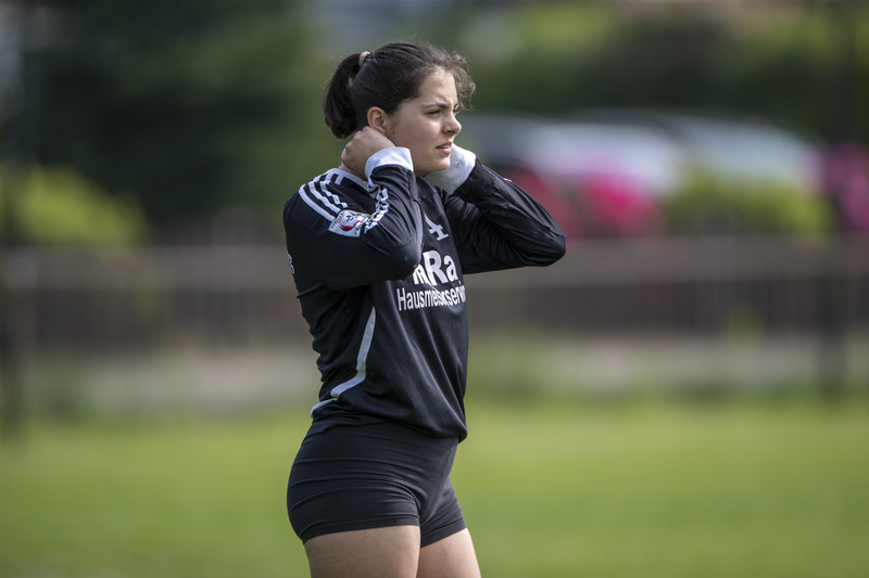 charming football girls in lycra shorts