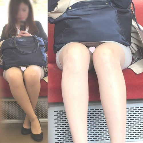 [顔出し][4K動画]美人で美脚なOLさんのもしかして透けてるかもなパ○ツ[ドアップあり]電車からの風景~