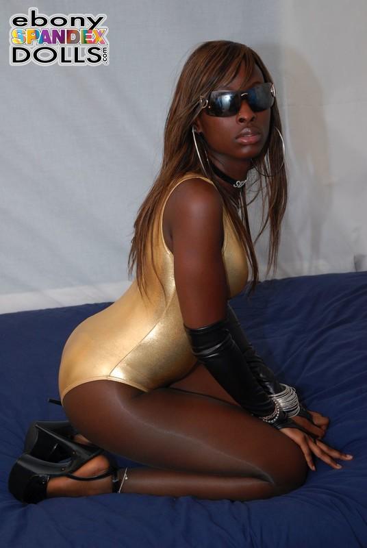 african lady Stephanie in shiny leotards