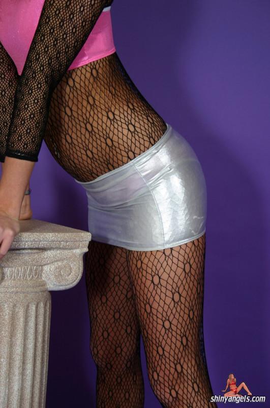 pretty shiny angel in bodystockings & shorts