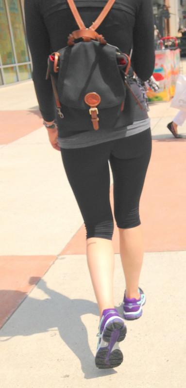 stylish college teen booty in asics yoga pants