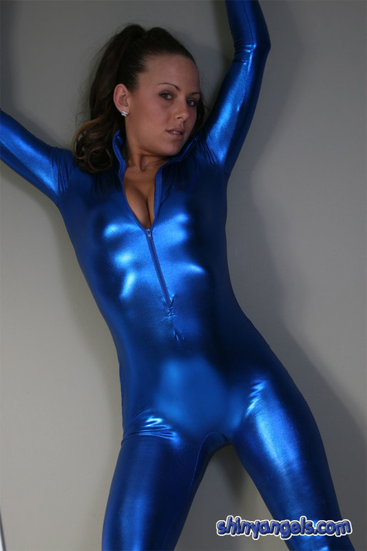 wonderful chick in blue catsuit