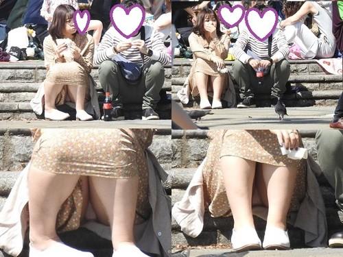 お座りお姉さん発見!!(FHD)大変です!!パンツが見えてますよ130