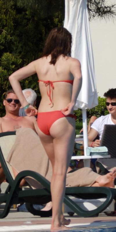 sultry girl in red bikini