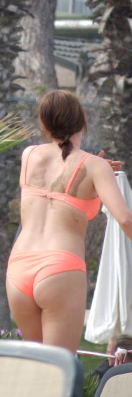 pretty college hottie in orange bikini