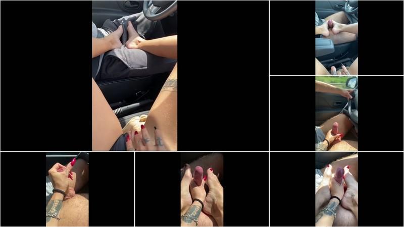 Nini-Nightmare - Geiler Foot-Handjob auf der Autobahn [FullHD 1080P]