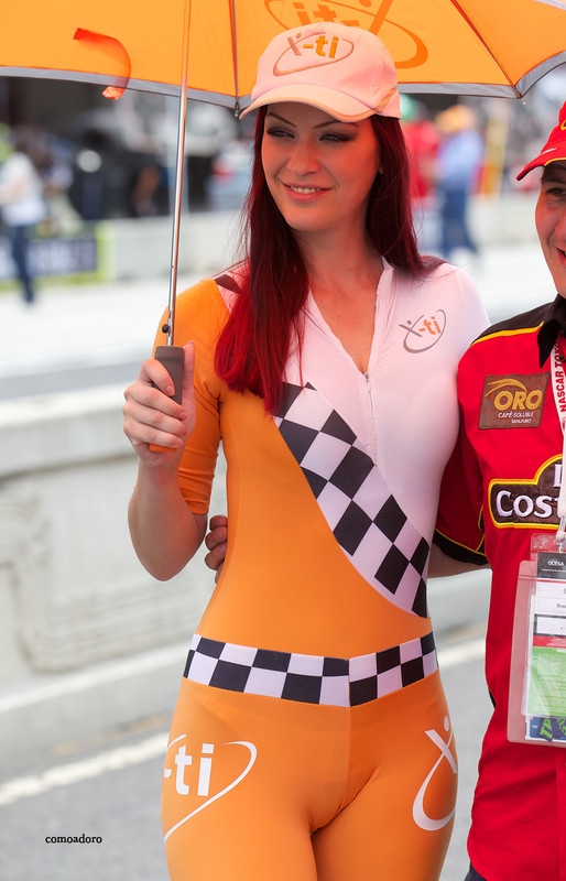 charming race queens in sexy catsuits