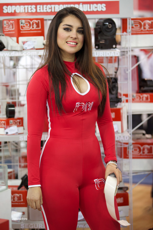 attractive promo babe in red catsuit