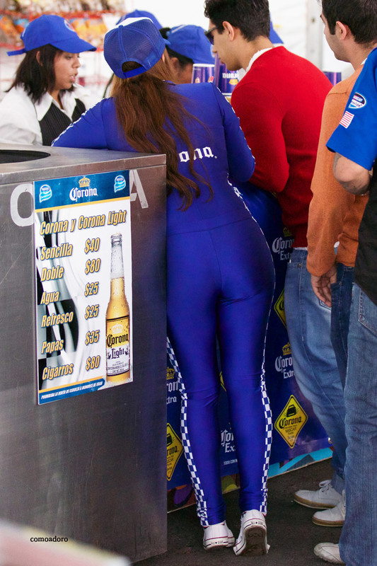 corona beer promo girls in blue catsuits