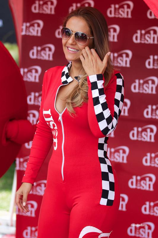 hispanic race queen in excellent red catsuit