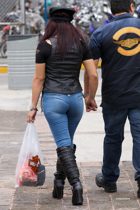 mexican biker chick in tight sexy jeans