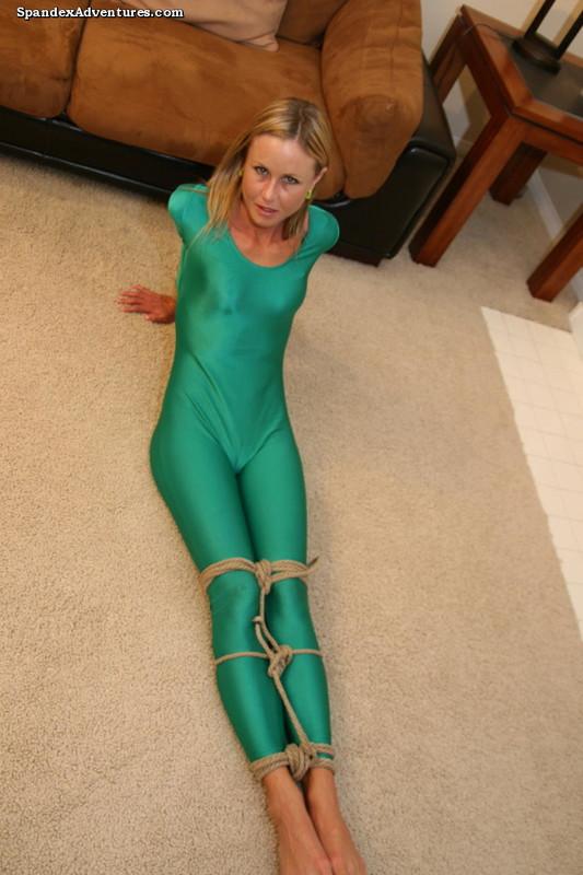gorgeous model Sarah bondage in green catsuit album