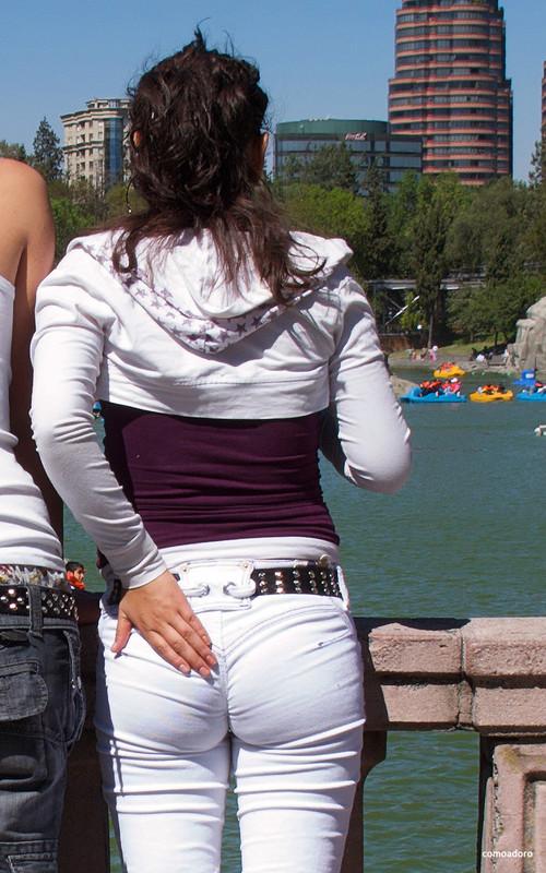 hispanic girlfriend in tight white pants