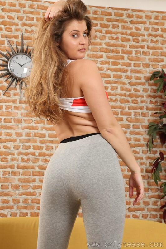 pepsi promo girl Lucy Ava in grey leggings