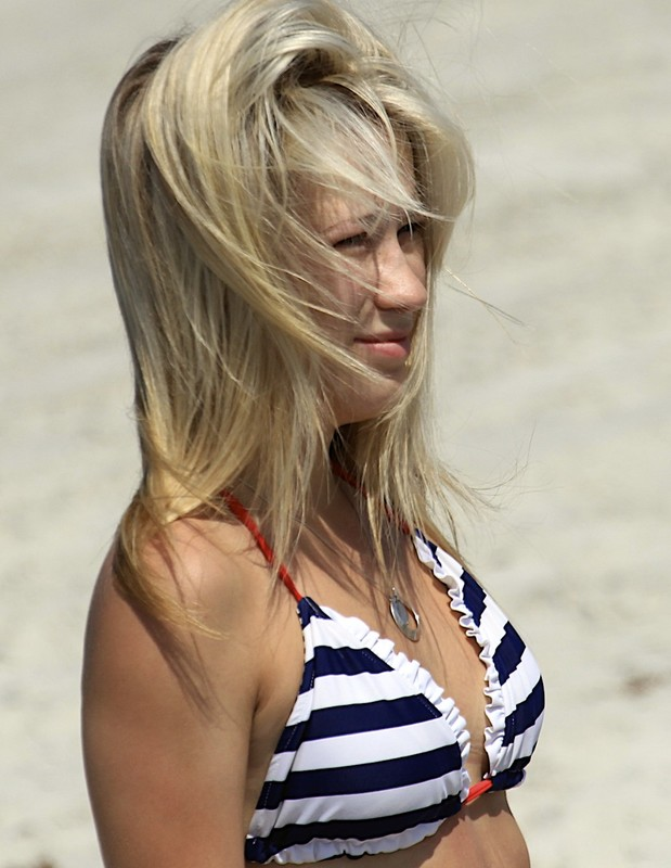 blonde college hottie in striped bikini