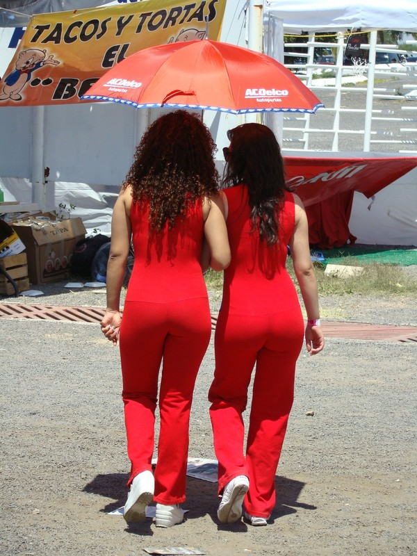 lovely promo girls in red tight spandex