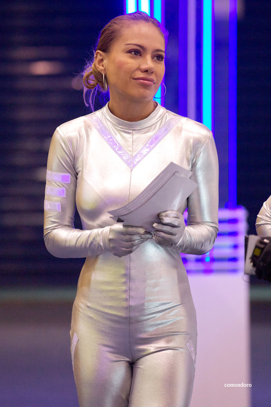 promo girls in silver catsuit