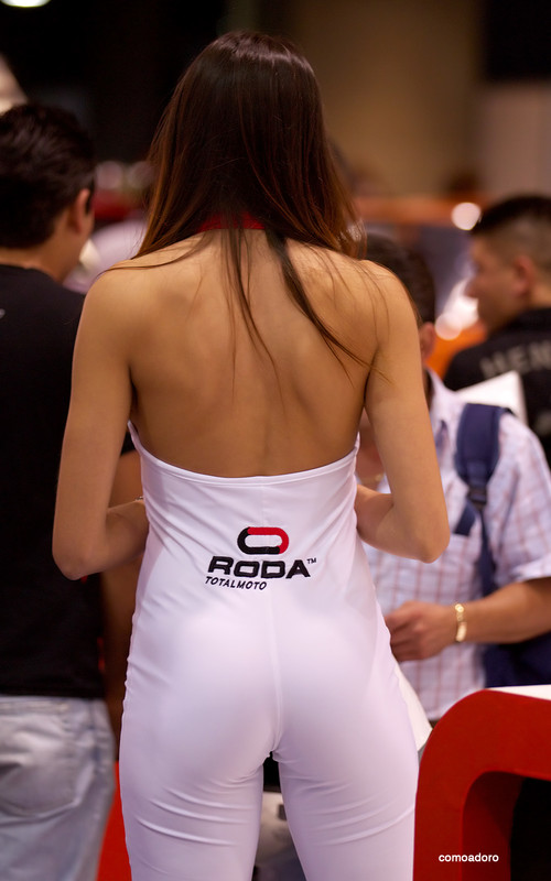 beautiful bike show promo girl in tight outfit