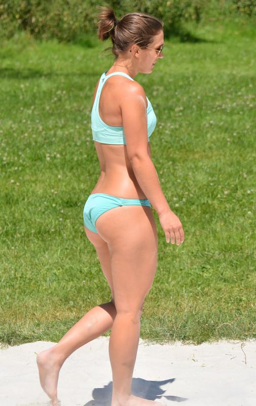 2 beach volleyball girls in lovely bikini