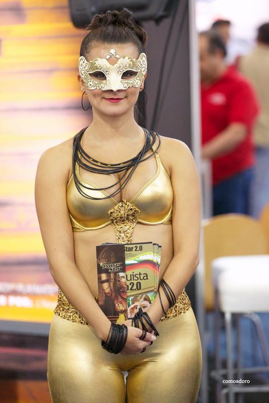 promo girls in golden leggings