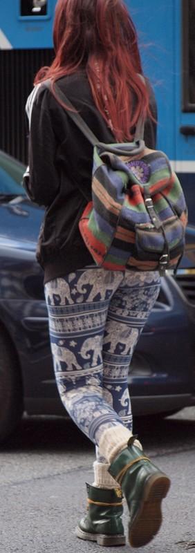 stylish coed teen in tight lycra pants
