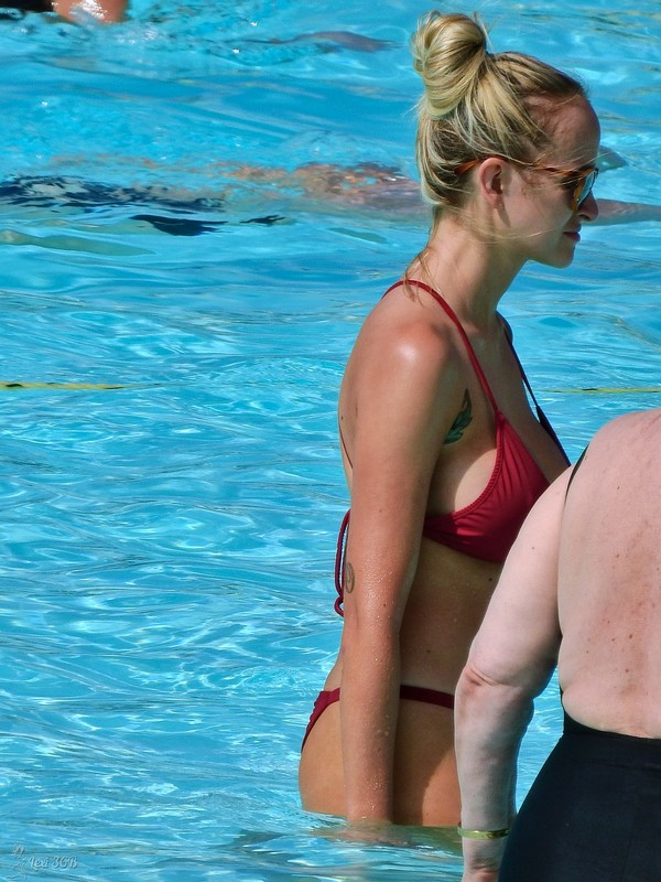 busty blonde milf in maroon bikini