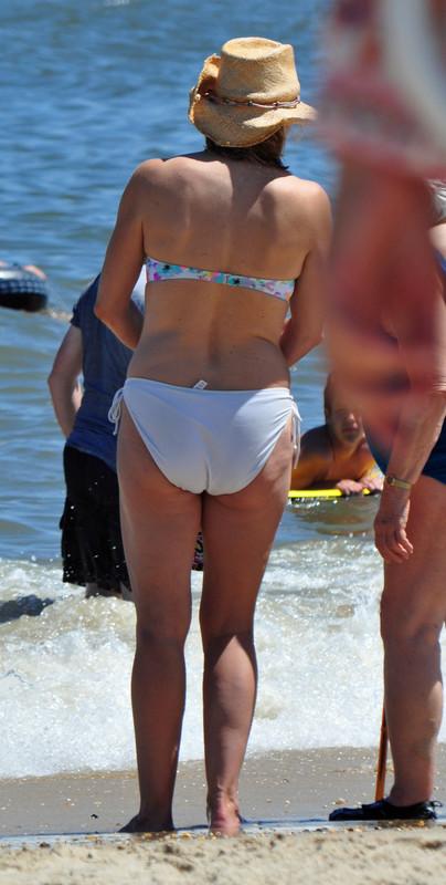 juicy milf in white bikini