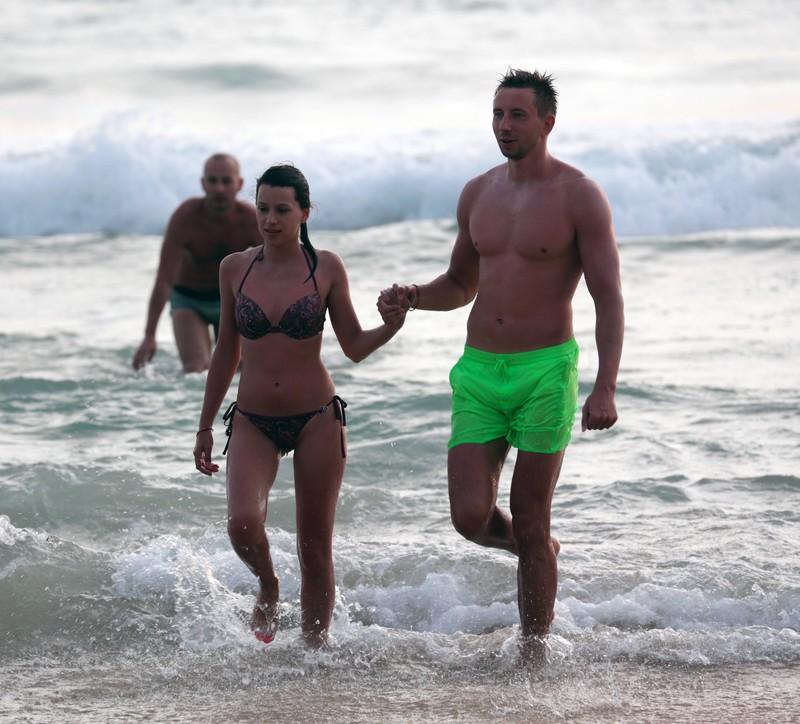 lovely wife in wet bikini