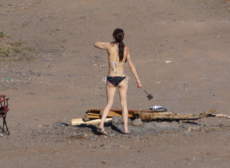 tattooed lady in bikini