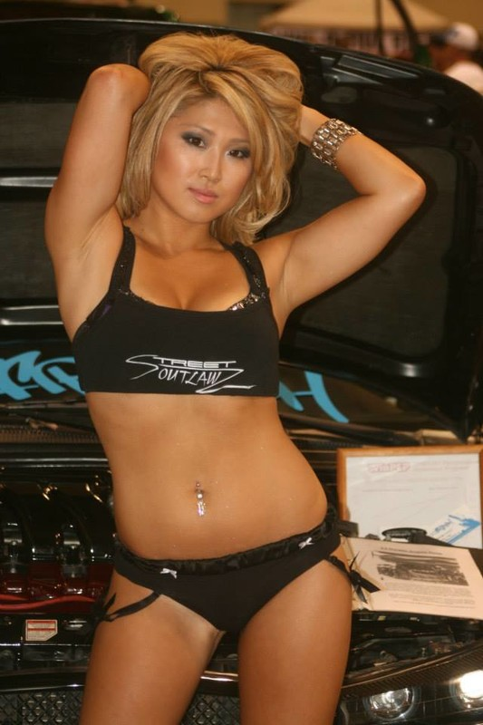 asian car show girl in candid outfit