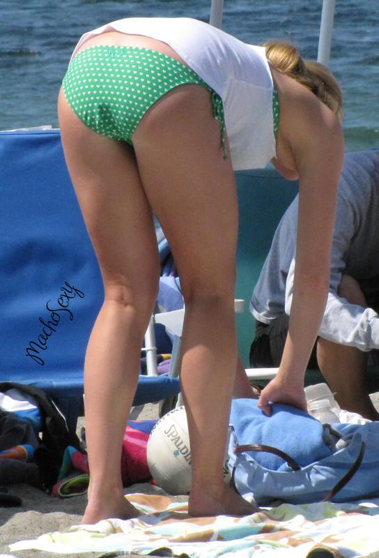 blondie lady in green bikini