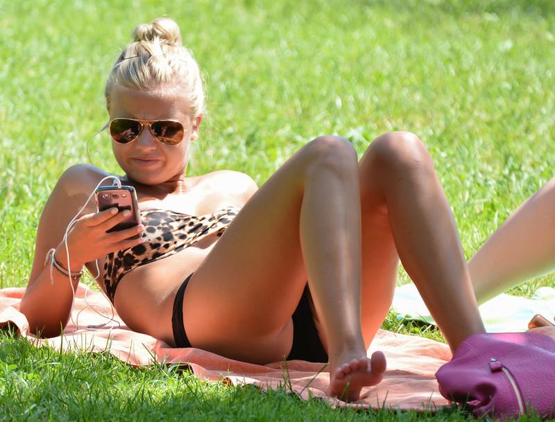 city park girls in lovely bikinis